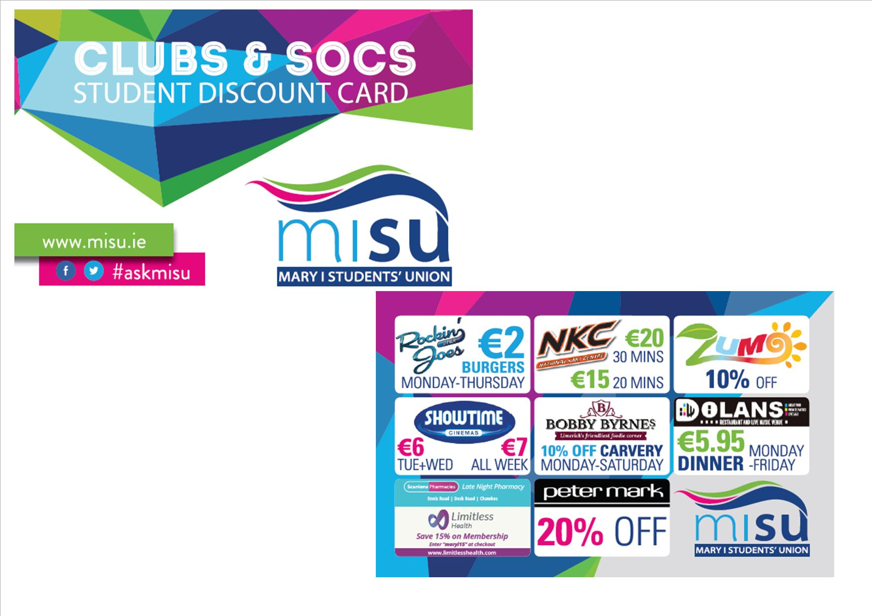 Clubs and Socs Discount Card
